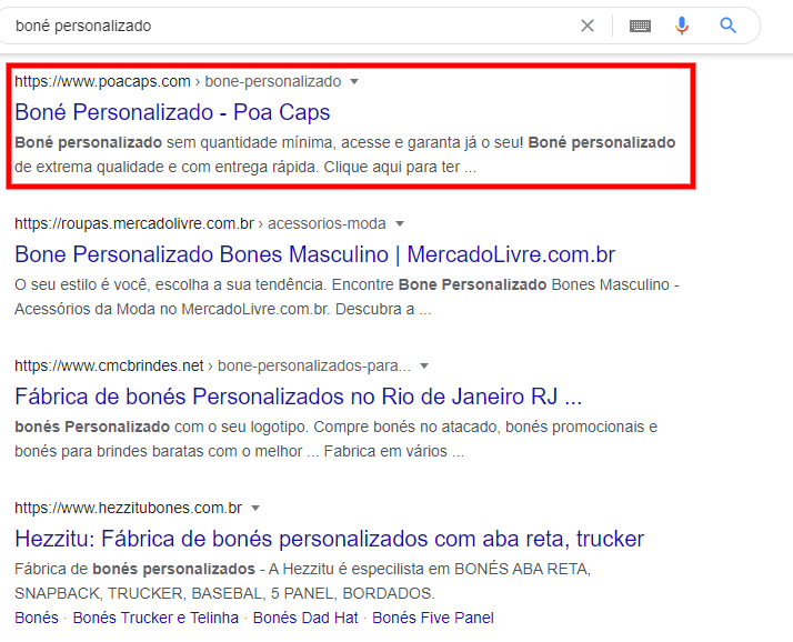 exemplo de pesquisa orgânica no google